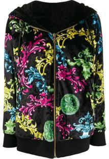 Versace Jeans Couture Zipped Baroque Print Jacket - Preto