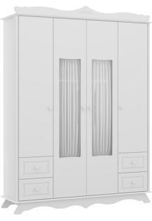 Guarda-Roupa 4 Portas Multimóveis Com Cortina E 4 Gavetas Branco Premium