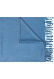 Mazzarelli Cachecol De Tricô Com Acabamento De Franjas - Azul