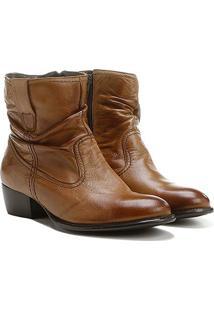 Bota Slouch Shoestock Couro Cano Curto Feminina - Feminino-Nude