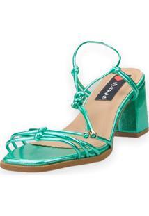 Sandália Salto Bloco Love Shoes Tiras Delicadas Amarração Metalizado Verde