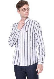 Camisa Tommy Jeans Reta Listrada Off-White/Cinza