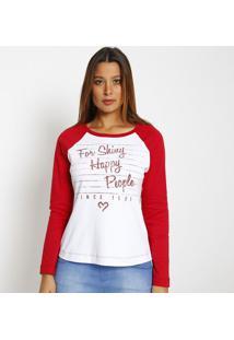 Blusa Com Recortes & Inscriã§Ãµes- Branca & Vermelha- Miss Bella