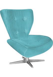 Poltrona Decorativa Tathy Suede Azul Tiffany Com Base Estrela Aço Cromado - D'Rossi