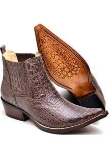 Bota Country Top Franca Shoes Bico Fino Masculino - Masculino-Cafe