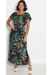 Vestido Longo Com Amarração & Elástico- Azul Escuro & Vevip Reserva