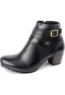 Ankle Boot Couro Sapatofran Perlatto Fivela Feminina - Feminino-Preto