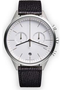 Uniform Wares Relógio 'C39 Chronograph' De Couro E Aço Inoxidavel - Preto