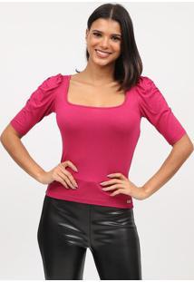 Blusa Com Drapeado- Rosa Escuro- Tritontriton