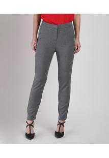 Calça Feminina Básica Skinny Cintura Média Alfaiatada Cinza Mescla Escuro