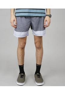 Short Masculino Listrado Com Bolsos Cinza Mescla Escuro