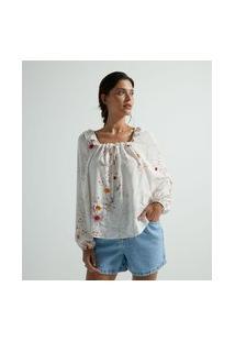 Blusa Bata Em Viscose Com Estampa Sol E Manga Ampla   Marfinno   Branco   Pp