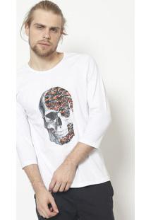 Camiseta Caveira- Branca & Laranja - ÊNfaseãŠNfase