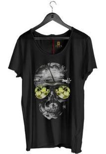 Camiseta Estonada Corte À Fio Joss Skull Beach Masculina - Masculino-Preto