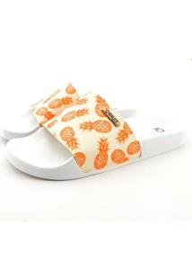 Chinelo Slide Quality Shoes Feminino Abacaxi Laranja Sola Preta 29 29