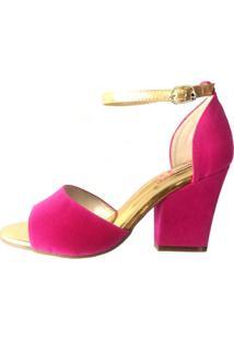 Sandália Blume Joy Salto Grosso Rosa Pink - Tricae
