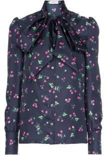 Racil Agata High Neck Kitty Bow Floral Print Silk Blouse - Azul