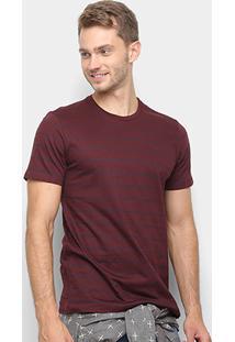 Camiseta All Free Listrada Masculina - Masculino-Bordô