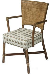 Cadeira Flint Com Braco Assento Sarja Sextavada Com Base Madeira Apui - 44724 Sun House