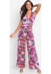 Macacão Pantalona Estampado Rosa