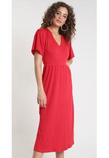 Vestido Feminino Midi Texturizado Com Fenda Manga Curta Vermelho