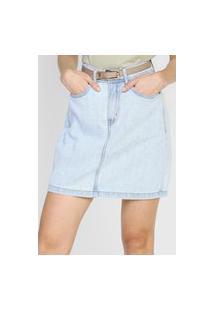Calça Jeans Dzarm Curta Pespontos Azul