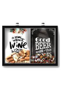 Quadro Porta Rolha Vinho E Tampinha Cerveja (2 Em 1) 33X43 Cm - Com Led Nerderia E Lojaria Breakfast E Good Beer Black Preto