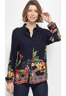 Camisa Manga Longa C & V Collection Barra Floral Feminina - Feminino-Marinho