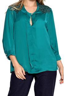 Camisa Manga Longa Energia Fashion Decote Verde