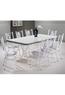Conjunto Mesa 8 Cadeiras Milano Móveis Brastubo Branco/Preto