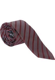 Gravata Slim Fit Acetinada - Bordô & Branca - 6X77Cmogochi