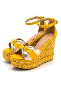 Sandália Anabela Salto Alto Em Napa Amarelo Com Dourado Metalizado