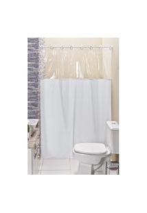 Cortina Box Banheiro Lisa C/ Detalhe Transparente Em Pvc Branco