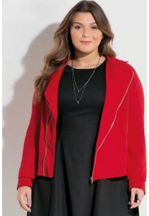 Jaqueta Com Zíper Vermelha Plus Size