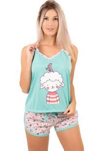 Pijama Bella Fiore Modas Short Doll Estampado Verde