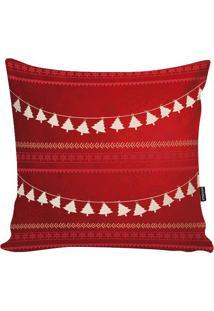 Capa De Almofada Natalina- Vermelha & Branca- 45X45Cstm Home