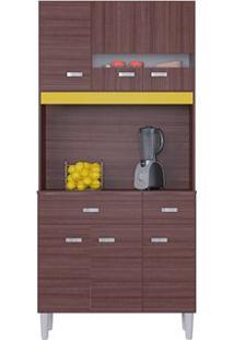 Cozinha Manu 6 Portas Capuccino/Offwhite/Amarelo Flex - Lc Móveis