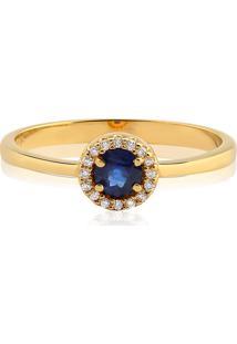 Anel Ouro Amarelo Diamantes E Safira