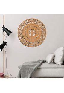 Escultura De Parede Wevans Mandala Abstrat Flower, Madeira + Espelho Decorativo