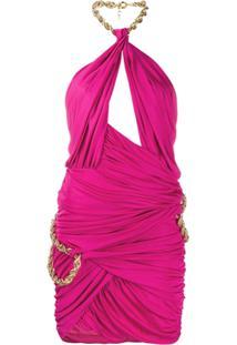 Moschino Vestido Com Detalhe De Corrente - Rosa