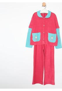 Pijama Manga Longa & Calã§A- Rosa & Azulsonhart