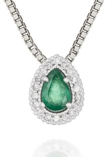 Pingente Ouro Branco Diamantes E Esmeralda
