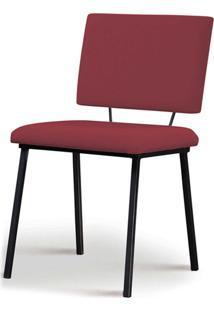 Cadeira Antonella Aco Preto Assento/Encosto Estofado Linho Marsala Daf