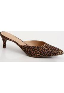 Scarpin Mule Feminino Estampa Animal Print Via Uno