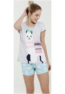 Pijama Feminino Short Doll Estampa Lhama Marisa