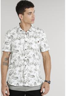 Camisa Masculina Estampada De Folhagens Com Bolso Manga Curta Em Linho Branca
