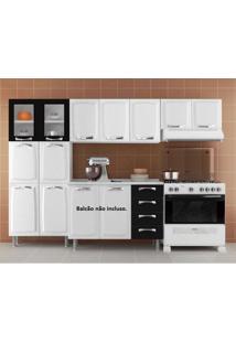 Cozinha Compacta 3 Peças 2 Portas Em Vidro Premium Itatiaia Branco/Preto
