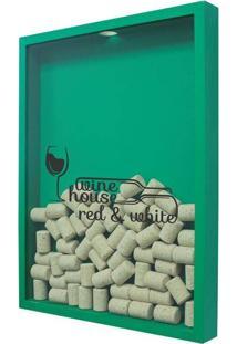 Quadro Porta Rolhas De Vinho Wine House 32X42 Cm Verde