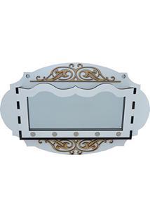 Porta Chaves E Correspondência Oval Branco Com Espelho