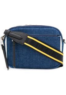 Dkny Bolsa Transversal Jeans Com Aplicação De Logo - Azul